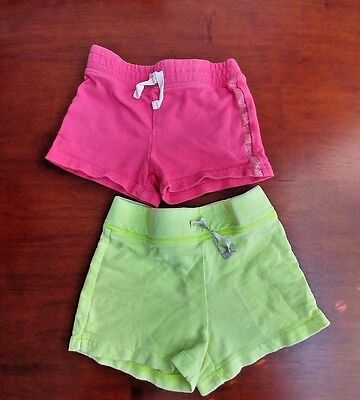 Toddler girl (lot of 2) shorts, Carter's, neon yellow & hot pink, 4T
