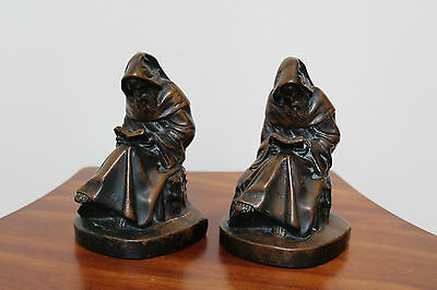 Vintage Art Deco Bronze Plated Monks Scuptural Bookends ~ Set Of 2