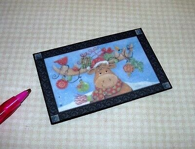 "Miniature /""Snowman and Cardinal/"" Welcome Door Mat DOLLHOUSE 1:12"