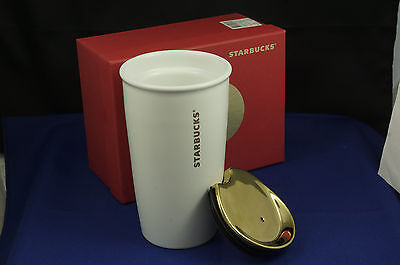 Starbucks 2015 Gold Peace Sign Travel Mug,  Limited Edition 12 oz., NEW IN BOX
