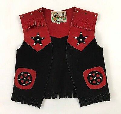 Pony Ranch Red Black Western Cowboy Suede Leather Fringed Vest Kids L Costume