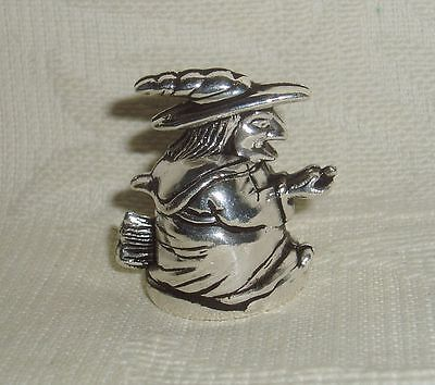"""Russian Сollectible Decorative Metal alloy Thimble """"Witch on a broomstickt"""""""