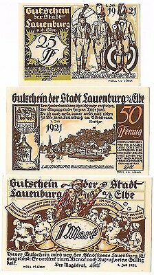 **1921 LAUENBURG Germany Banknote - SOLDIERS ~ Complete Set German Notgeld UNC