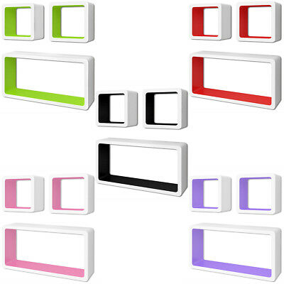 3 MDF Floating Cubes Wall Storage Book CD Display Shelves Square 5 Colours