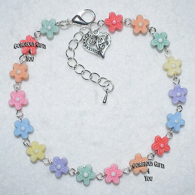 Summer Bright Multi Coloured Mix Daisy Flower Holiday Ankle Bracelet Anklet Gift