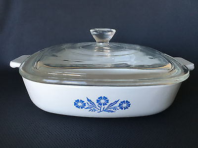 """Corning Ware Cornflower 7"""" Skillet Pan P-7-B 7"""" with Clear Lid"""