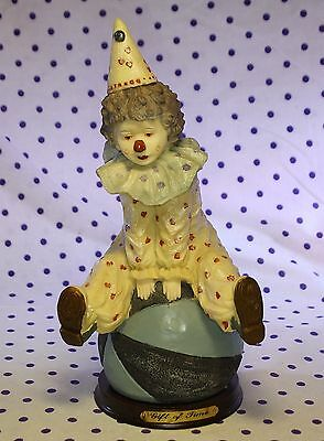 Vintage GIFT OF TIME French Clown Figurine Balancing Sitting on Blue Ball Circus