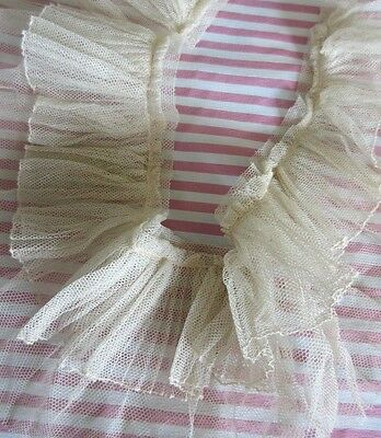"""Antique Tulle Lace Trim 22"""" Ruffled/Gathered Collar/Flounce French Doll Dress"""