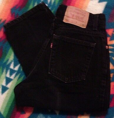 Levis 551 Vintage Black Jeans Women's Relaxed Fit Tapered Leg 8 MED USA 28x26