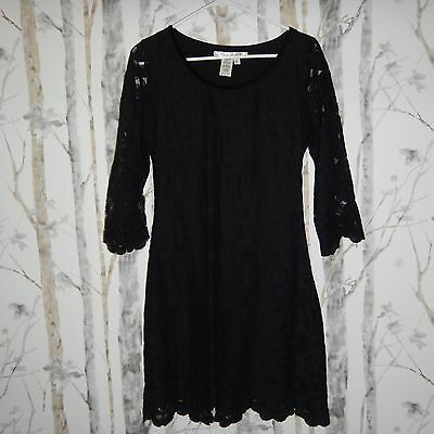 Max Studio Womens Black Lace 3/4 Sleeve Cocktail Evening Dress Size Large