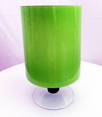 """Large VTG MCM  Cased Lime Chartreuse Green Footed Base Vase 10.5"""" tall x 6"""" wide"""