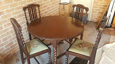 antique mahogany fold down dining table with chairs aud picclick au. Black Bedroom Furniture Sets. Home Design Ideas