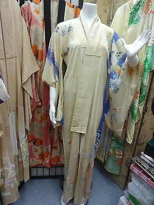 Vintage hand painted SILK Japanese dress kimono robe MED JAPAN antique butterfly