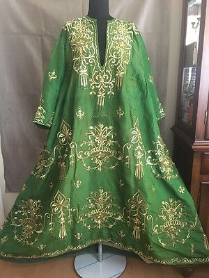 19th ANTIQUE OTTOMAN-TURKISH GOLD METALLIC DIVAL HAND EMBROIDERIED BRIDAL DRESS
