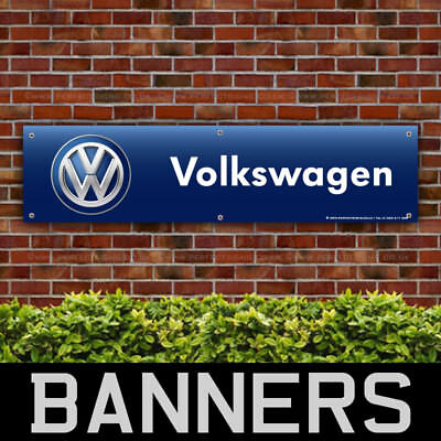 VW Volkswagen Blue PVC Banner Garage Workshop Car Sign (BANPN00167)