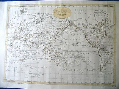 Vintage Large Reproduction of 1790 World Map - Captain Cook's Voyages