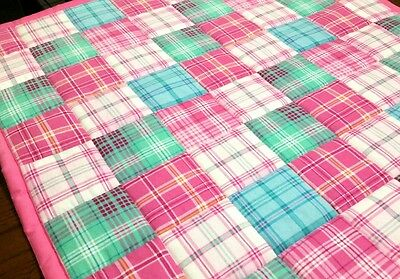 HANDMADE, PINK/ TURQUOISE  SQUARES, 34X42in BABY/TODDLER FLANNEL QUILTED BLANKET