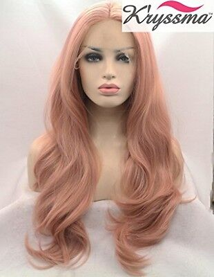 Kryssma Fashion Baby Pink Wigs Long Wavy Lace Front Wig Mixed Color Light Pink