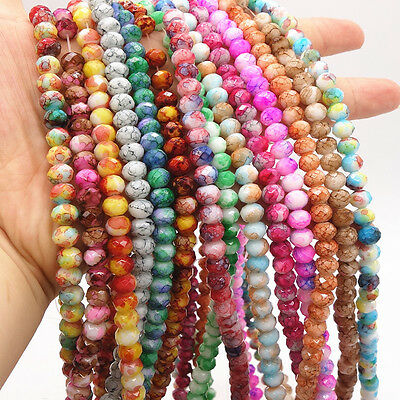 40pcs flower Faceted Rondelle Charms Glass Loose Spacer Beads DIY 8mm