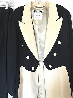 VINTAGE MOSCHINO COUTURE BLACK/IVORY Rayon Pant Suit SZ 12