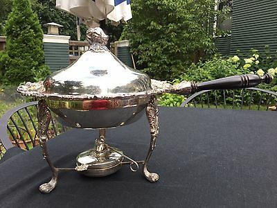 Antique Silver plate Round Serving Dish, Chafing Dish