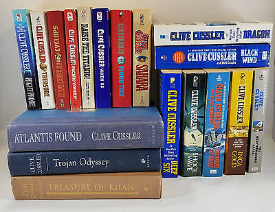 Clive Cussler — Mixed Lot of 18 — Inca Sahara Trojan Khan Vixen Tide Cyclops