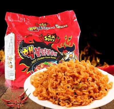 Samyang Nuclear Hot Spicy Ramen Noodles 5 Packs Korean Buldak Bokeum 2X Spicy