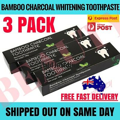 3 PACK Activated Charcoal Teeth Whitening Organic Toothpaste Coco Powder Carbon