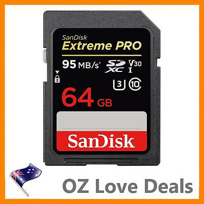 SanDisk Extreme Pro 64GB SD Memory Card SDXC UHS-I 4K UHD Class 10 95MB/s V30