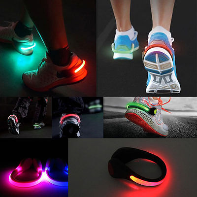 2x Running Sports LED Luminous Shoe Clip Light Night Safety Warning Bike Cycling