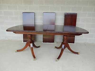 "Unique Solid Mahogany Double Pedestal Dining Extension Table 121""W"