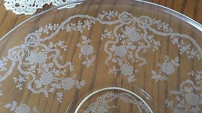 """Vintage Fostoria ROMANCE Etched 14"""" Clear Round TORTE PLATE Ribbons Bows Floral"""