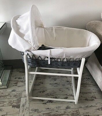 White and Grey waffle Moses basket and stand