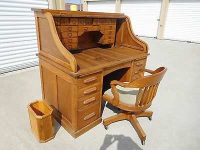 "Roll top Desk, antique, quarter sawn, tiger oak, Excellent condition, 54"" wide"