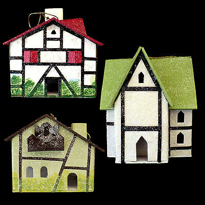 German Christmas 'paper' House Ornaments / Vintage Inspired / Set Of 3