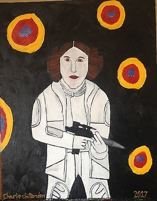 Princess Leia Carrie Fisher Original Oil Painting Canvas Charlie Chittenden