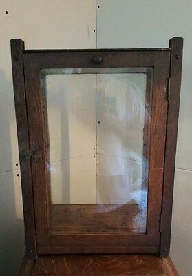 Antique Glass & Wood Table Top Display Case