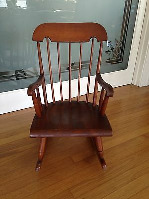 "Vintage Child's Rocking Chair Solid Wood Good Condition 27"" high.14"" seat width"