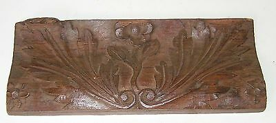 Panel Antique Carved Wood Part Frieze Foliate Flower Design