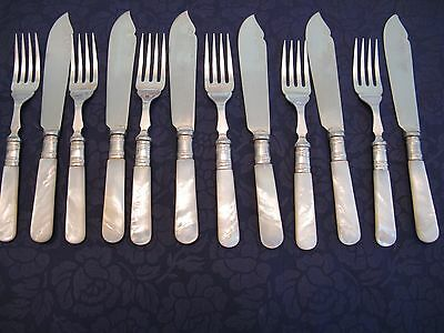 12 Antique Silver Plate & Mother Of Pearl Fish Cutlery