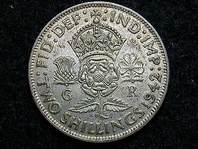 FH-2966: GREAT BRITAIN, Silver Florin (2 Shillings) dated 1942, Nice grade