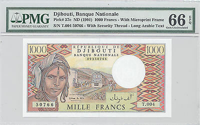 1991 ND Djibouti, Banque Nationale, 1000 Francs, PMG 66 EPQ GEM UNC, P#: 37e