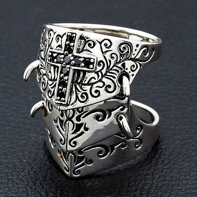Medieval Armor Knuckle Steampunk Sterling Silver Ring Knight Shield New Biker