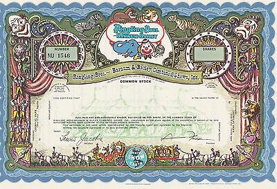 Ringlin Bros.barnum Bailey Specimen Stock Certificate Combined Shows-Blue Scarce