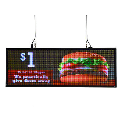 "39""x14"" full color programmable LED sign U disk upload window hang show JPG AD"