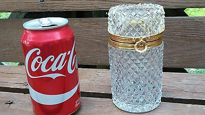 Beautiful Antique 1900's French Cut Crystal Hinged Gilt Brass Casket Trinket Box