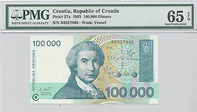 1993 Croatia, Republic of Croatia, 100,000 Dinara, PMG 65 EPQ GEM UNC P#: 27a