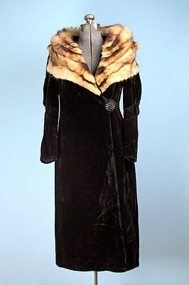 1920's/1930's fitch velvet art deco coat flapper mutton sleeves