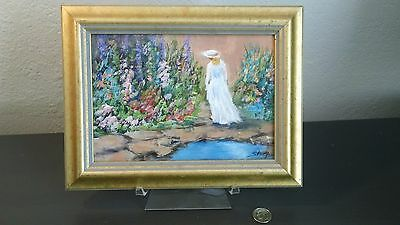 Vintage Original Miniature Oil Painting Listed Artist Grace Stump Signed Framed