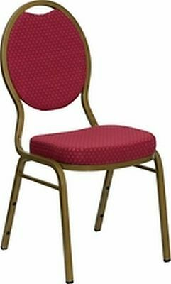 New  Banquet Chairs, Burgundy Fabric W Gold Frame Lot Of 100 (Free Shipping)